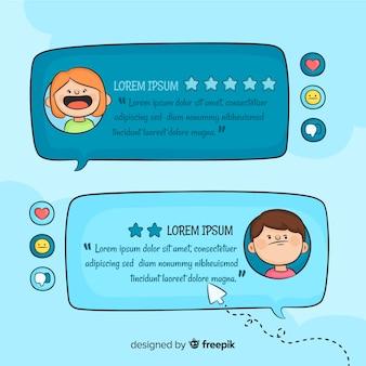 Témoignage de bulle de dialogue dessiné à la main