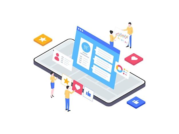 Témoignage illustration isométrique mobile. convient pour les applications mobiles, les sites web, les bannières, les diagrammes, les infographies et autres éléments graphiques.
