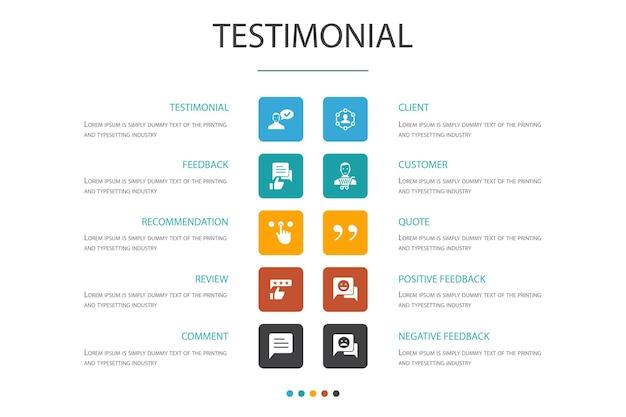 Témoignage infographie 10 option concept.feedback, recommandation, examen, commentaires icônes simples