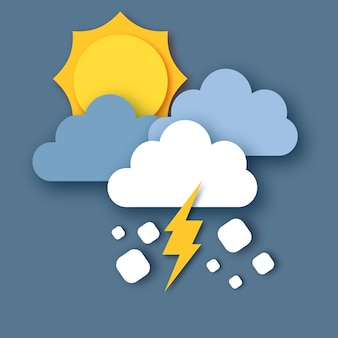Tempête de grêle. soleil, nuages de pluie et éclair. papier découpé météo. temps de tempête. .