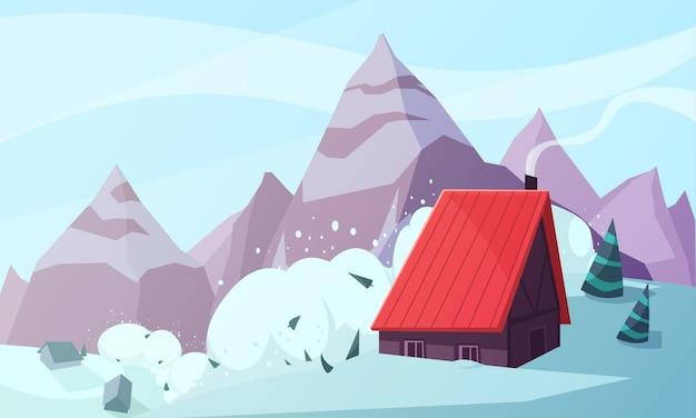 Tempête de neige à la montagne