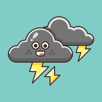 Tempête nuageuse mignonne avec l'illustration de foudre