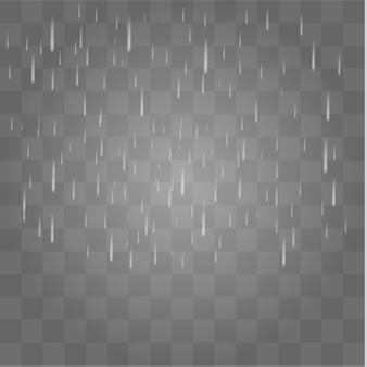 Tempête de pluie et nuages blancs isolés sur fond transparent.