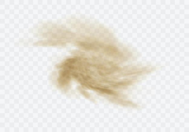 Tempête de sable du désert, nuage poussiéreux brun sur transparent