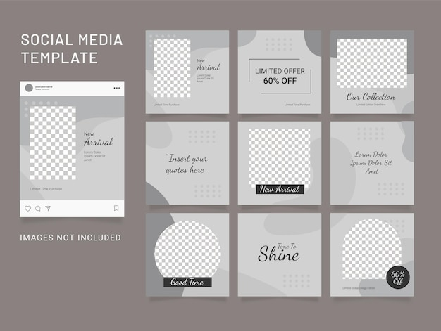 Template feed social media instagram puzzle