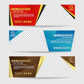 Template vecteur de bannière web abstrait coloré