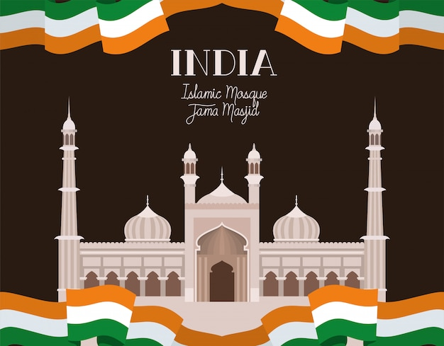 Temple indien jama masjid avec drapeau