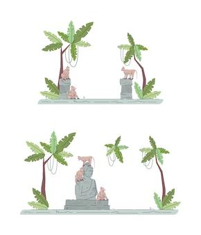 Temple indonésien ruines jeu d'illustration couleur rvb semi-plat. palmiers et restes de sanctuaire. singes dans l'architecture de la jungle objets de dessin animé isolés sur la collection de fond blanc