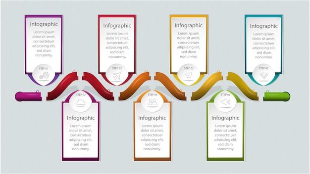 Temple infographique moderne avec des zones de texte colorées pour l'option ou l'étape.