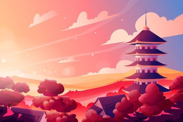 Temple japonais dégradé avec soleil