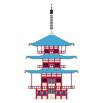 Temple japonais, pagode chureito. icône de contour, fond blanc.