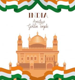 Temple d'or d'amritsar indien avec drapeau