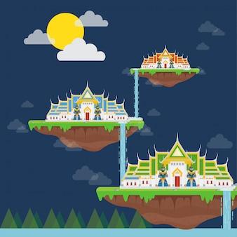 Temple Thaïlandais Sur Une île Tropicale Vecteur Premium