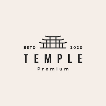 Temple torii porte logo vintage icône illustration
