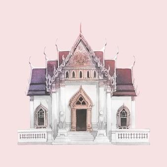 Temple wat benjamabhopit peint à l'aquarelle