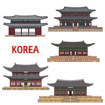 Temples historiques de corée isolés sur blanc