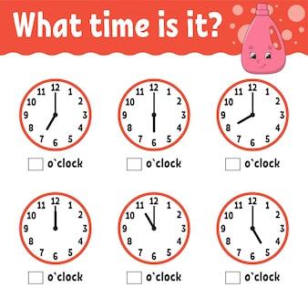 Temps d'apprentissage sur l'horloge. feuille d'activités éducatives pour les enfants et les tout-petits.
