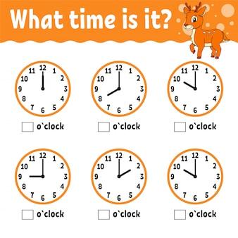 Temps d'apprentissage sur l'horloge. fiche d'activité éducative pour les enfants et les tout-petits.