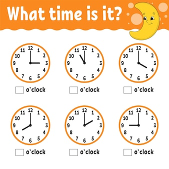 Temps d'apprentissage sur l'horloge fiche d'activité éducative pour les enfants et les tout-petits
