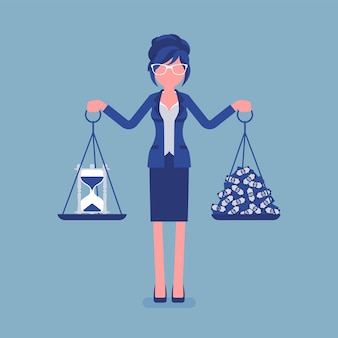 Temps, argent bon équilibre pour femme d'affaires