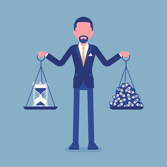Temps, argent bon équilibre pour homme d'affaires
