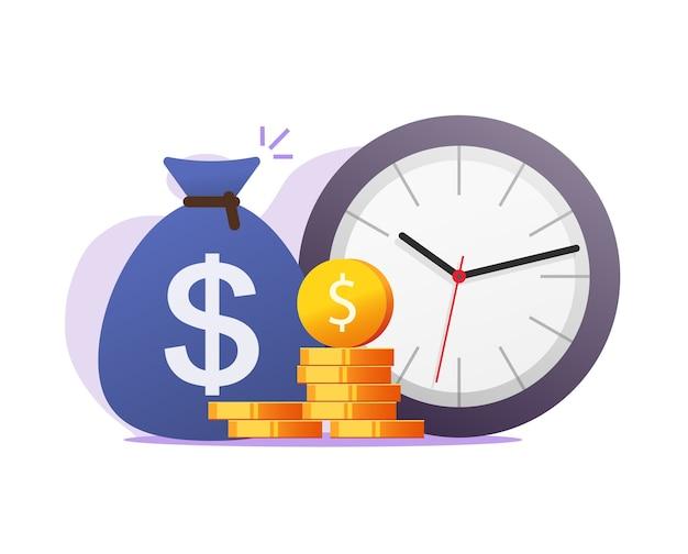 Temps, argent, inflation, concept, vecteur, clipart, plat, dessin animé, illustration