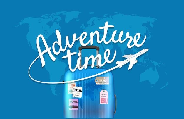 Temps de l'aventure. carte du monde avec le logo