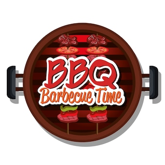 Temps de barbecue meilleur design de viande vector illustration