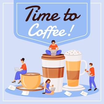 Temps de café sur les médias sociaux. phrase de motivation. modèle de conception de bannière web. booster de café, mise en page de contenu avec inscription.