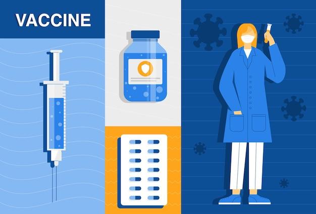 Temps de concept de vaccination contre le coronavirus. des chercheurs en biochimie testent un vaccin contre le coronavirus