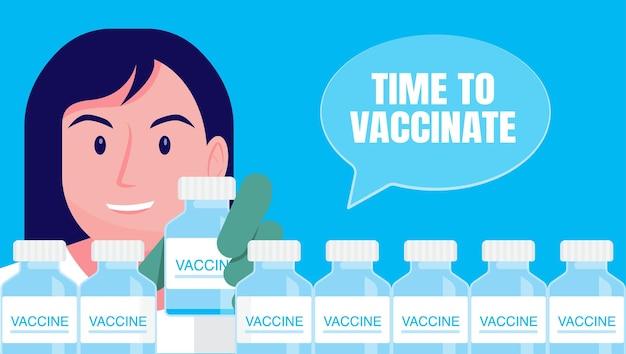 Temps de concept de vaccination contre le coronavirus. les médecins conseillent ce qu'il faut faire en cas d'infection par le coronavirus