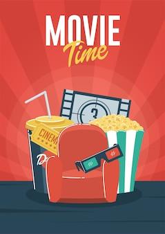 Le temps du film. peut être utilisé pour flyer, affiche, bannière, annonce et fond de site web