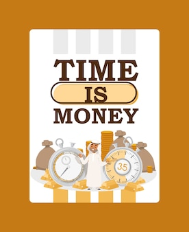 Le temps, c'est de l'argent. homme d'affaires arabe portant des vêtements traditionnels avec chronomètre et sacs d'argent