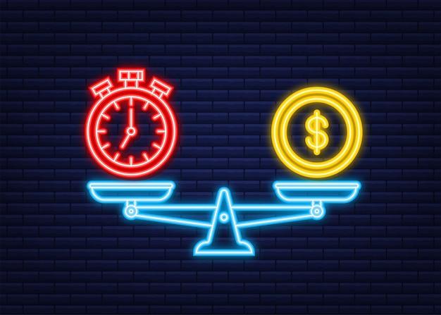 Le temps, c'est de l'argent sur l'icône d'échelles. icône néon. équilibre de l'argent et du temps à l'échelle. illustration vectorielle de stock.