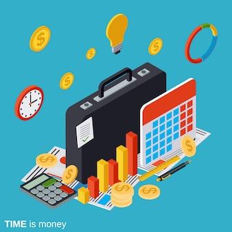 Le temps, c'est de l'argent plat isométrique