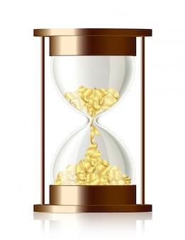 Le temps c'est de l'argent - sablier avec des pièces