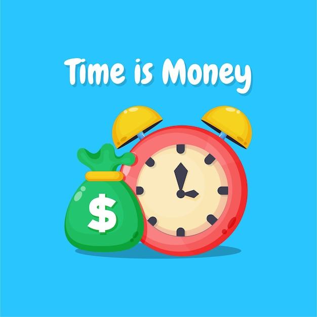 Le temps est le concept de l'argent. conception d'icône d'horloge et d'argent