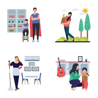 Temps en famille, femme au foyer, pack d'icônes plat