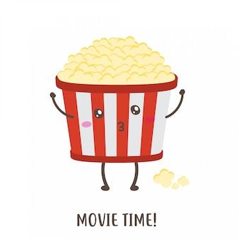 Temps de film de conception de vecteur de pop-corn heureux mignon