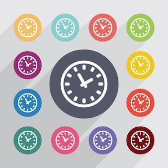 Temps, jeu d'icônes plat. boutons colorés ronds. vecteur