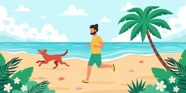 Temps libre sur la plage homme jogging avec chien heure d'été