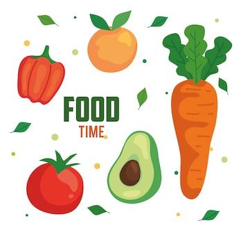 Temps de nourriture légumes et fruits, concept alimentation saine