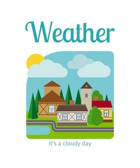 Temps nuageux, dans, ville, illustration