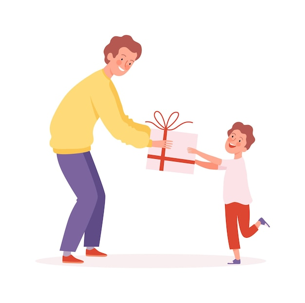 Temps paternel. homme offrant un cadeau à son fils, à un garçon heureux et à un homme. frères, surprise d'anniversaire ou illustration vectorielle présente. fête des pères et des garçons, surprise de joyeux anniversaire