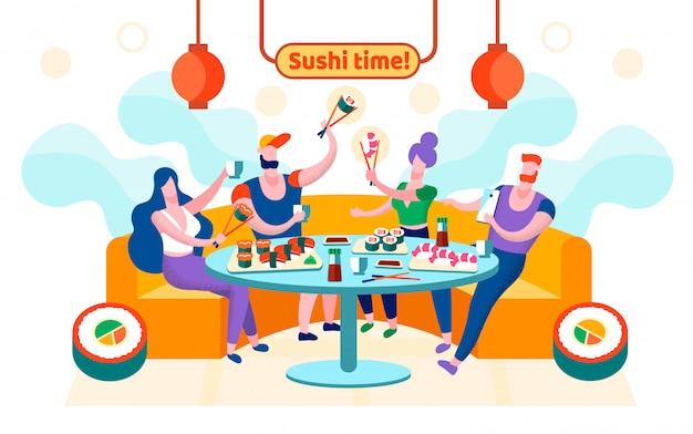 Le temps plat sushi est écrit illustration vectorielle.