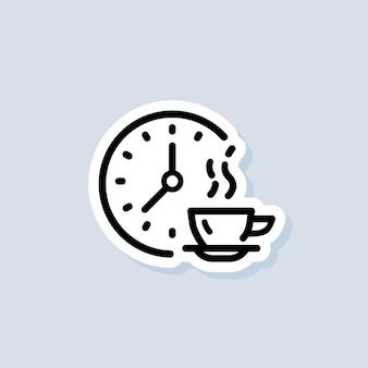 Temps pour l'autocollant de déjeuner, logo, icône. vecteur. icône de pauses repas. une pause. dîner. logo de l'heure de la nourriture. vecteur sur fond isolé. eps 10