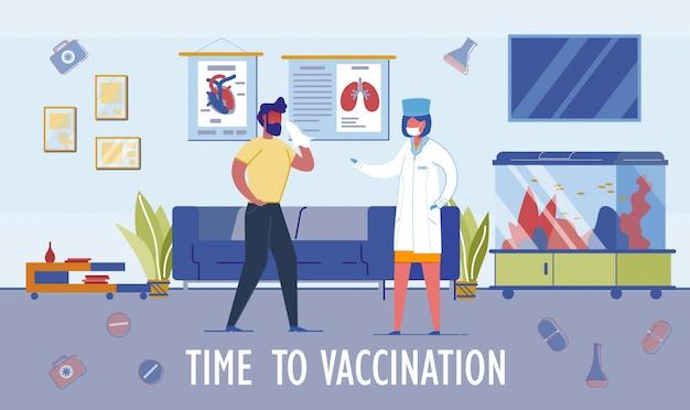 Temps pour l'en-tête et la scène de la vaccination à l'hôpital.
