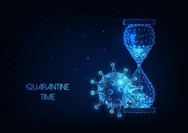 Temps de quarantaine futuriste pendant le concept de pandémie de coronavirus avec sablier et virus low poly