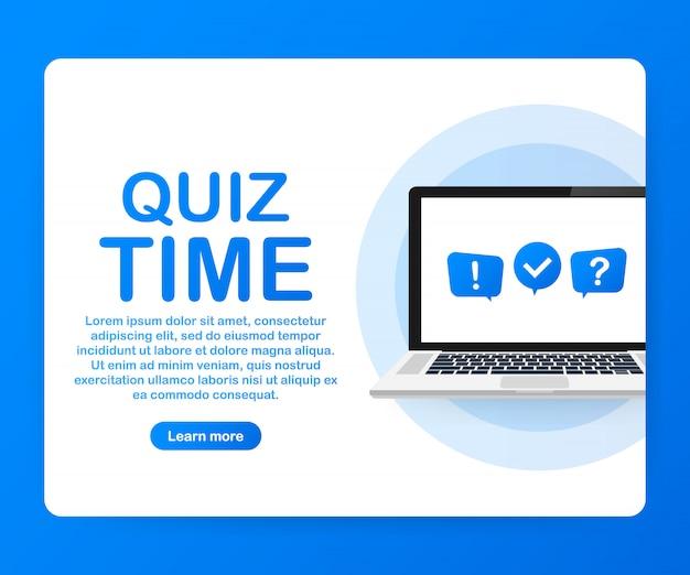 Temps de quiz. modèle de quiz en ligne sur ordinateur portable