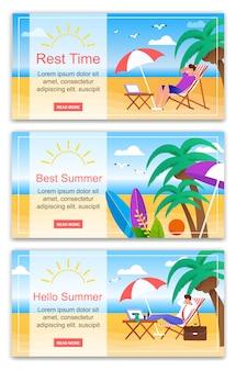 Temps de repos hello best summer banner set